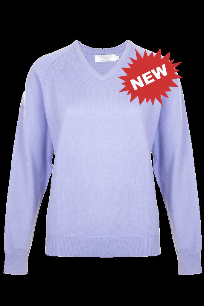 Amy Merino Lilac Vee Neck Sweater new